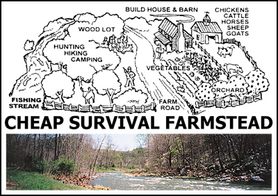 Cheap survival homestead on river b k haynes for Where to buy cheap land for homesteading